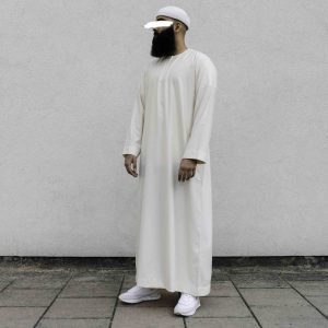 Cream thobe front view of person wearing it scaled